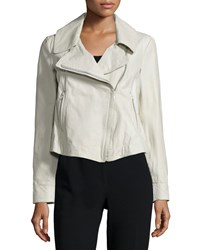 Donna Karan Zip Front Leather Jacket Platinum White Women's