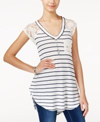 American Rag Printed Waffle Knit Lace Trim Top Only At Macy's