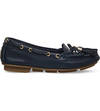 Carvela Line Leather Moccasins Navy
