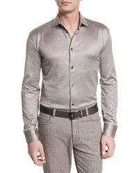 Ermenegildo Zegna Cotton Silk Long Sleeve Sport Shirt Light Brown Size Medium