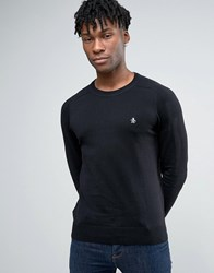 Original Penguin Crew Jumper Cotton Small Logo In Black Black