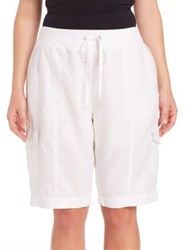 Eileen Fisher Plus Size Organic Linen Cargo Shorts White