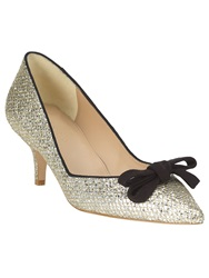 Phase Eight Liza Kitten Glitter Point Heeled Shoes Yellow