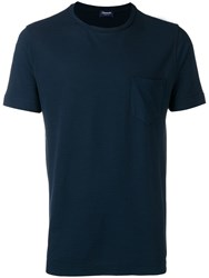 Drumohr Classic T Shirt With Chest Pocket Blue
