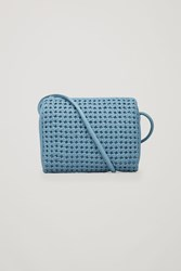 Cos Braided Leather Shoulder Bag Blue