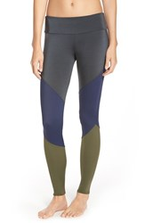 Women's Onzie Colorblock Track Leggings Charcoal Navy Olive