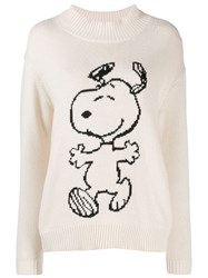 Chinti And Parker Roll Neck Snoopy Jumper Neutrals