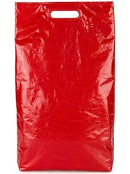 Helmut Lang Red Rectangle Leather Tote Bag