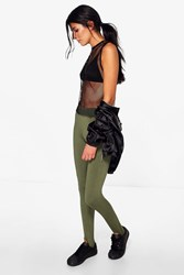Boohoo Liah Cross Front Basic Jersey Stirrup Leggings Khaki