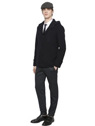 Emporio Armani Hooded Wool Blend Double Caban Jacket Navy