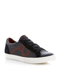 Armani Jeans Python Print Logo Lace Up Trainers Black