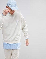 Fairplay Sweatshirt With Chenille Logo In Boxy Fit White