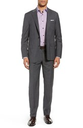 Hickey Freeman Big And Tall Classic Fit Plaid Wool Suit Charcoal