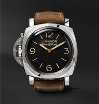 Officine Panerai Luminor 1950 Left Handed 3 Days 47Mm Stainless Steel And Leather Watch Brown