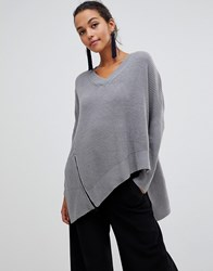 Liquorish Asymmetric Jumper With Zip Detail Grey