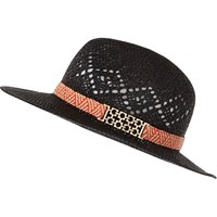 River Island Womens Black Patterned Straw Fedora Hat