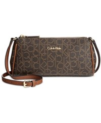 Calvin Klein Small Monogram Crossbody Brown Khaki Luggage Saffiano