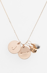 Nashelle Pyrite Initial And Arrow 14K Gold Fill Disc Necklace Gold Pyrite Silver Pyrite J
