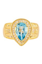 Genuine Blue Topaz And Simulated Diamond Pear Shape Ring