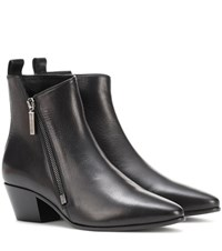 Saint Laurent Leather Ankle Boots Black