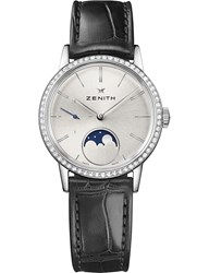 Zenith 16.2330.692 01.C714 Elite Lady Moonphase Alligator Leather And Diamond Watch Silver Black