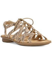 Naturalizer Whimsy Lace Up Flat Sandals Women's Shoes Gold