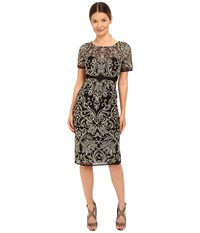 Marchesa Floral Embroidered Cocktail With Sheer Illusion Panel Black