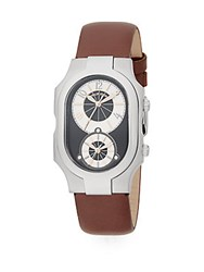 Philip Stein Teslar Signature Chronograph Stainless Steel And Leather Watch Chocolate