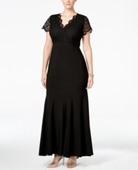 Betsy And Adam Plus Size Lace Mermaid Gown Black
