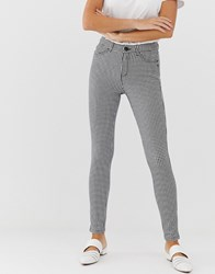 Esprit Gingham Trouser In Black And White Multi