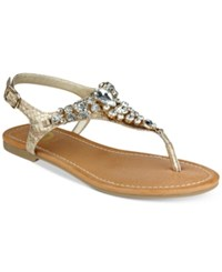 G By Guess Londeen Embellished Flat Sandals Women's Shoes Gold
