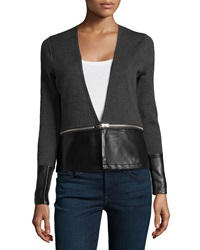 Neiman Marcus Faux Leather Contrast Zip Off Cardigan Heather Gray Black