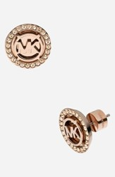 Michael Michael Kors 'Monogram' Stud Earrings Rose Gold Gold Quartz