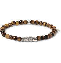 Tateossian Sterling Silver And Tiger's Eye Bead Bracelet Brown