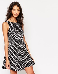 Influence Elephant Print Sleeveless Skater Dress Navy