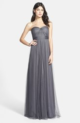 Women's Jenny Yoo 'Annabelle' Convertible Tulle Column Dress Shadow Grey