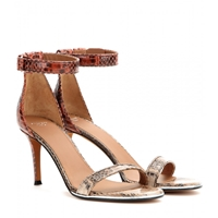 Givenchy Nadia Snakeskin Sandals Brown Red