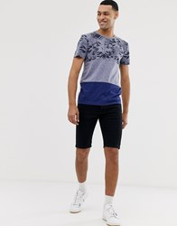 Tom Tailor T Shirt With Printed Panel In Navy Grey