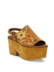 See By Chloe Dakota Embroidered Suede Platform Clogs Brown