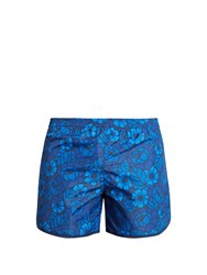 Robinson Les Bains Cambridge Long Floral Print Swim Shorts Blue Multi