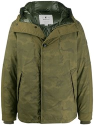 Woolrich Camouflage Print Padded Jacket Green