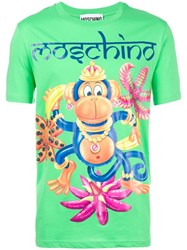 Moschino Monkey Print T Shirt Green
