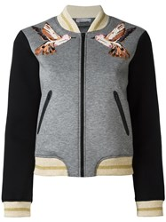 Red Valentino Three Quarters Sleeve Bomber Jacket Grey