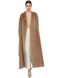 Delpozo Brushed Alpaca And Wool Long Coat Camel
