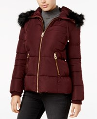 Guess Faux Fur Trim Hooded Puffer Coat Only At Macy's Burgundy