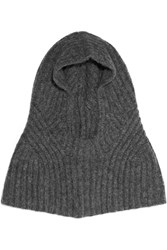 Helmut Lang Ribbed Alpaca Blend Snood Gray