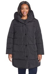 Plus Size Women's Gallery Pillow Hood Quilted Down And Feather Fill Stadium Coat Black