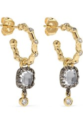 Larkspur And Hawk Ladies 14 Karat Gold Rhodium Dipped Quartz Diamond Earrings