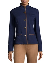 Sail To Sable Faux Leather Trim Button Front Ponte Jacket Navy
