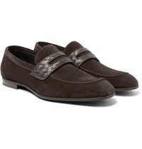 Bottega Veneta Intrecciato Leather Trimmed Suede Penny Loafers Chocolate